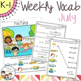 July Daily Weekly Thematic Vocabulary Word Work