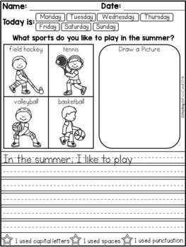 July Daily Writing Prompts for Beginning Writers (Summer Writing Activities)