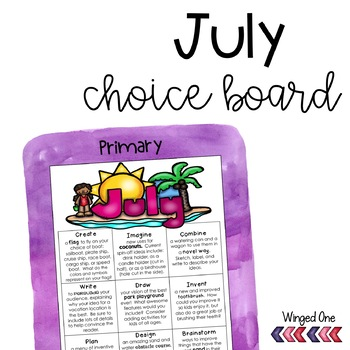 July Early Finishers Choice Board