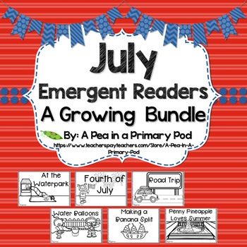 July Emergent Readers and Response Activities Growing Bundle