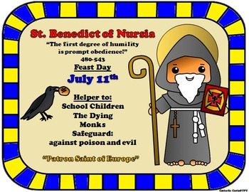 July Feast Day Catholic Saint Poster - Saint Benedict of Nursia
