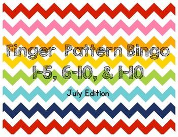 July Finger Pattern Bingo (Differentiated 1-5, 6-10, & 1-10)