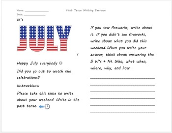 July Fireworks Post Holiday Writing Exercise