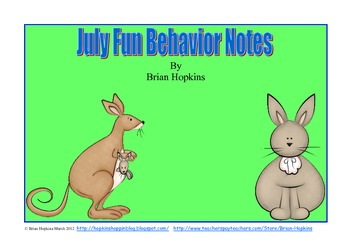 July Fun Behavior Note Freebie