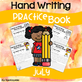 July Hand Writing Practice Book