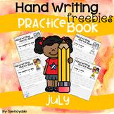 July Hand Writing Practice Book Freebies
