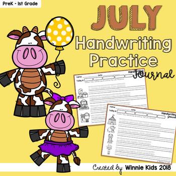 July Handwriting Practice Journal