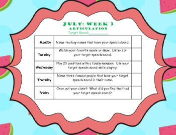 July Home Program (Articulation)