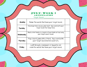 July Home Program (Articulation)