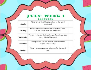 July Home Program (Elementary Language)