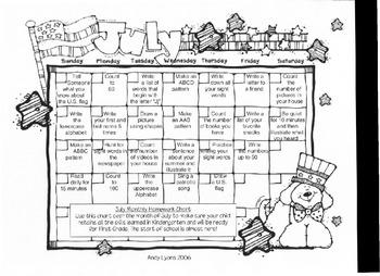 July Homework Calendar