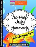 July Homework Packet: Kindergarten