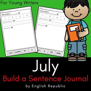 July Journal and Sketchbook for Beginner Writers - No Prep!