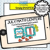 July Kindergarten Digital Math Centers For GOOGLE CLASSROOM
