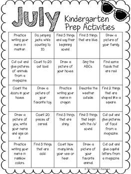 July Kindergarten Prep Activities