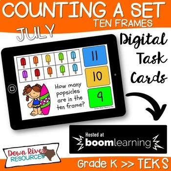 July Math Boom Cards | Ten Frames Kindergarten TEKS