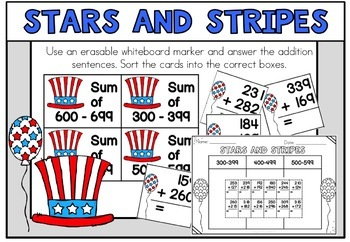 July Math Centers 4th of July Math Second Grade