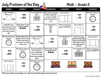 July Math Problem of the Day Calendars (Gr 1-3)