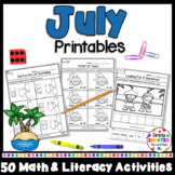 July Math and Literacy Printables and Activities For Kindergarten