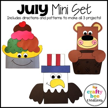 July Mini Set {Ice Cream Sundae, Teddy Bear Picnic, & 4th of July Bald Eagle}