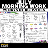 July Morning Work   Morning Work Review Packet for Kinderg