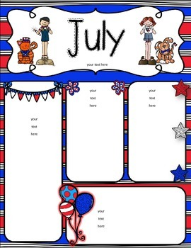 July Newsletters - freebie