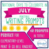 July No Prep National Days Writing Prompts
