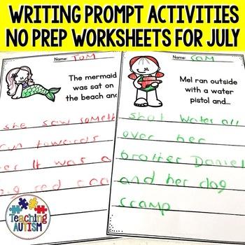 July No Prep Writing Prompt Worksheets