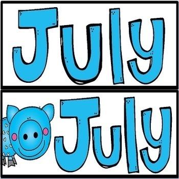 Illustrated Calendar Set for JULY