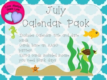 July Quatrefoil Calendar Set