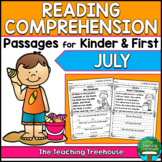 July Reading Comprehension Passages for Kindergarten and First Grade