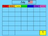 July SMART Board Calendar Math for Kindergarten