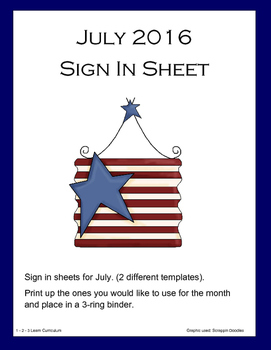 July Sign In Sheets