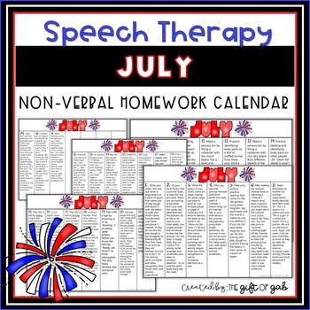 July Speech Homework Calendar