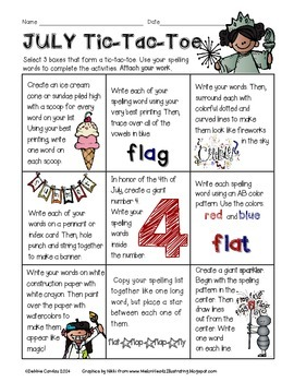 July Spelling Tic-Tac-Toe
