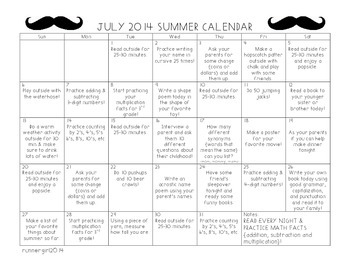 July Summer 2015 Calendar of Learning