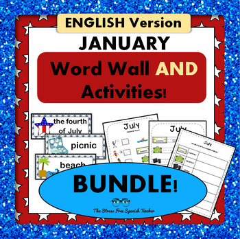July / Summer / 4th of July Word Wall Cards AND Activities! English version