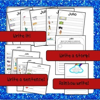 July / Summer / 4th of July Word Wall Cards AND Activities! Spanish version