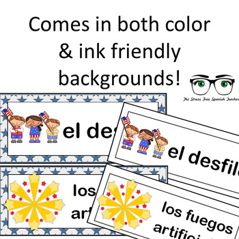 July / Summer / 4th of July Word Wall Cards! Spanish version