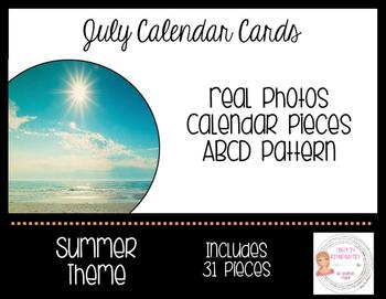 July Summer Calendar Cards-Real Photos