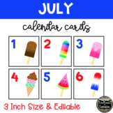 July Summer Ice Cream/ Popsicles Calendar Cards (3 INCH)
