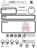 July Themed Piano Lesson Assignment Sheet