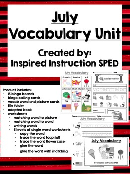July Vocabulary Unit for Early Elementary or Students with Special Needs
