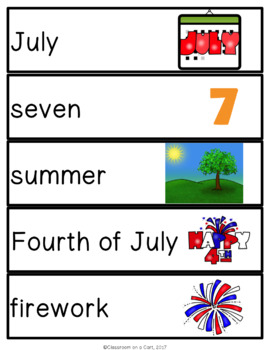 July Vocabulary Unit for Special Education
