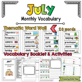 July Vocabulary Word Wall, Booklet, Writing Activities and BINGO