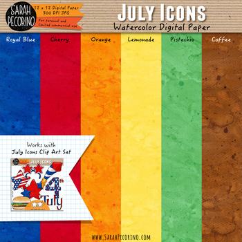 July Watercolor Digital Papers