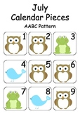 July / Woodland Creature Calendar Pieces for Numeracy Wall