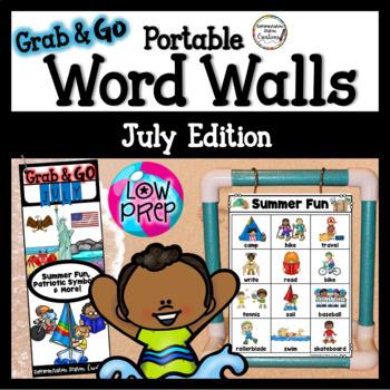 July Word Walls: Beach, Camping, Patriotic Symbols, Picnic, Summer Word Walls