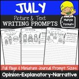 July Writing Prompts {Narrative Writing, Informative & Opinion Writing}