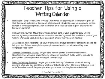 Writing Calendar:  20 Prompts for the Month of July